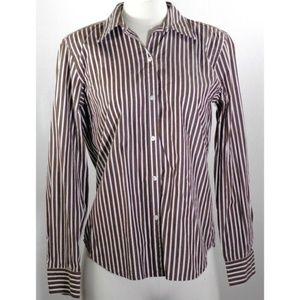 Chaps Top Size M Brown White Stripe Button Cotton